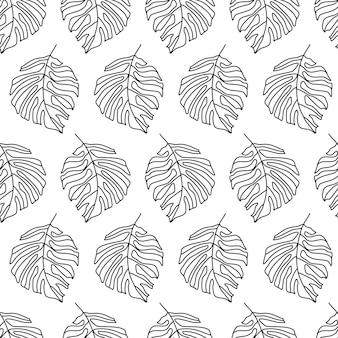Monstera jungle digitaal patroon met palmbladeren op witte achtergrond