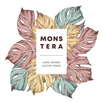 Monstera ontwerp hand getrokken banner frame vector sjabloon