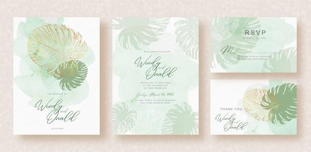 Monstera's bladeren op bruiloft uitnodiging sjabloon