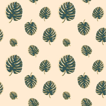 Monstera tropische bladeren naadloos patroon op lichtbeige achtergrond