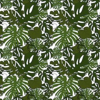 Monstera verlaat naadloos patroon op een witte vectorillustratie als achtergrond