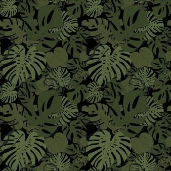 Monstera verlaat naadloos patroon op een zwarte vectorillustratie als achtergrond