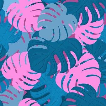 Monstera vertrekt. tropisch ontwerp. trendy zomer naadloos patroon.