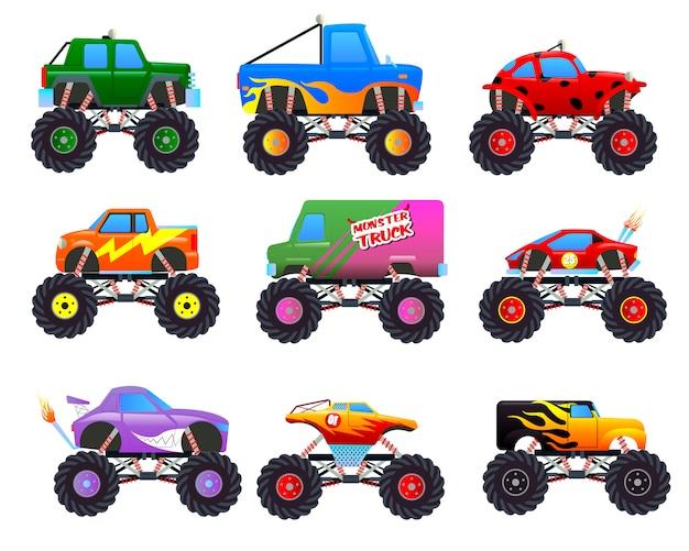 Monsterauto's. cartoon auto's met grote wielen