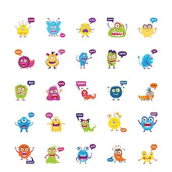 Monsters grommen en schreeuwen vlakke pictogrammen instellen