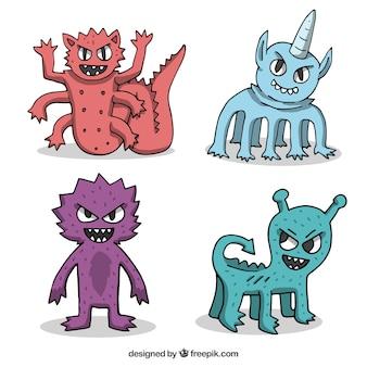 Monsters karakterverzameling met grappige gezichten