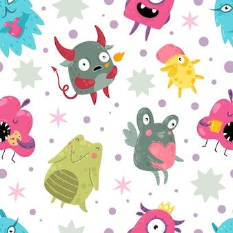 Monsters naadloos patroon. grappige ongelooflijke wezens met glimlach schattige goofy gezichten karakters, kleur mutanten kinderen creatief ontwerp textiel, inpakpapier, behang vector textuur op witte achtergrond