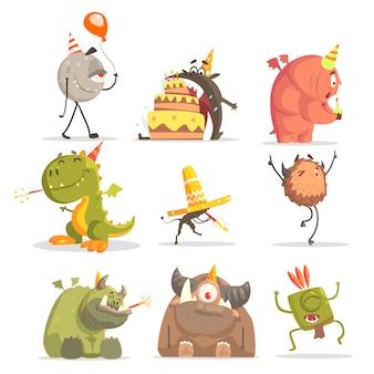 Monsters op verjaardagsfeestje in grappige situaties.