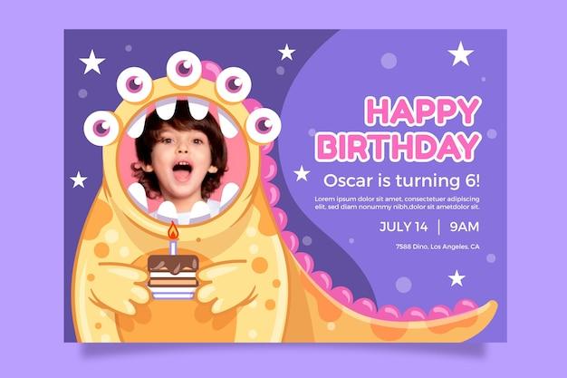 Monsters verjaardag uitnodiging sjabloon met foto