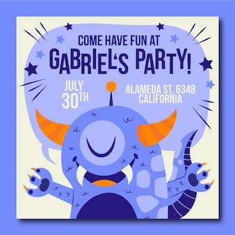 Monsters verjaardag uitnodiging sjabloon
