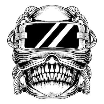Monsterschedel met vr-technologie zwart-witte illustratie