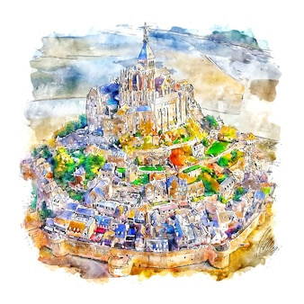 Mont saint michel frankrijk aquarel schets hand getrokken illustratie