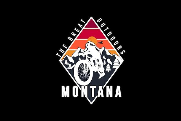 Montana het buitenleven, retro vintage stijl hand tekenen illustratie