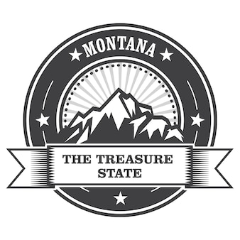 Montana mountains - treasure state stempellabel