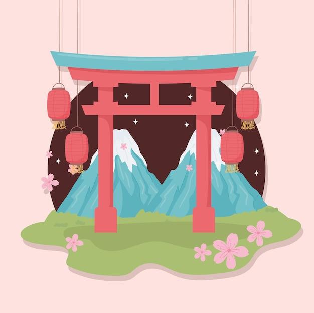 Monteer fuji-lantaarns en poort