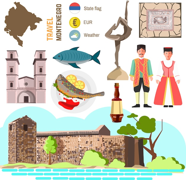 Montenegro cultuur symboolset.