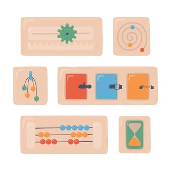 Montessori-borden. houten speelgoed voor kleuters. montessorisysteem voor de ontwikkeling van jonge kinderen. abacus, deuren met grendels, zandloper, rails. set objecten op witte achtergrond