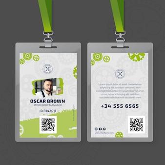 Monteur en service-id-kaartsjabloon
