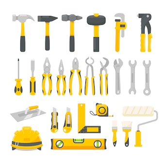Monteur gereedschapset vector. bouwhulpmiddelen voor huisreparaties die op een witte achtergrond worden geïsoleerd