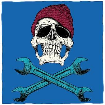 Monteur schedel poster