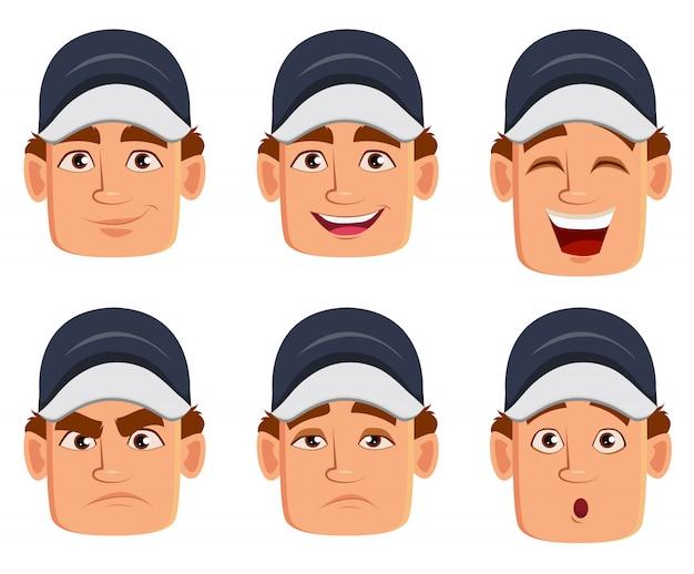 Monteur, verschillende gezichtsuitdrukkingen
