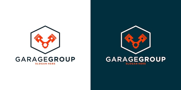 Monteurgroep, workshopgroep, logo-ontwerp met zeshoek voor uw bedrijf of gemeenschap
