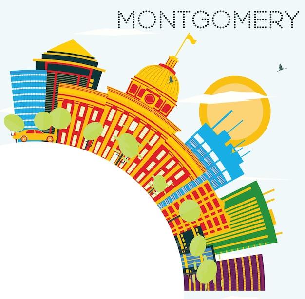 Montgomery usa skyline met kleur gebouwen, blauwe lucht en kopie ruimte. vectorillustratie. zakelijke reizen en toerisme concept. afbeelding voor presentatiebanner plakkaat en website.