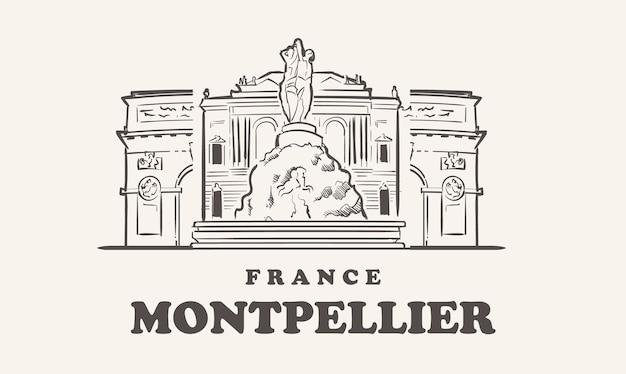 Montpellier skyline afbeelding ontwerp