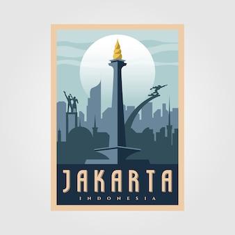 Monument nationale jakarta vintage poster