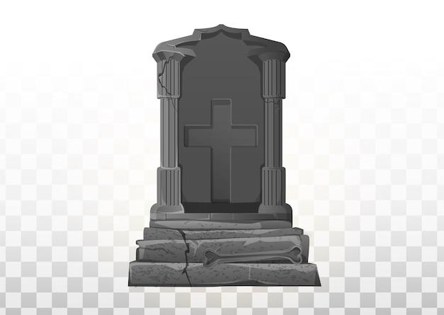 Monument op het graf. grafsteen op de begraafplaats. grijs monument op het graf van rip. cartoon vectorillustratie. halloween-elementen instellen.