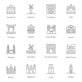Monumenten lijn pictogrammen vectoren pack