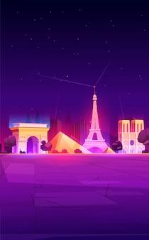 Monumenten van parijs, de skyline van de stad van frankrijk