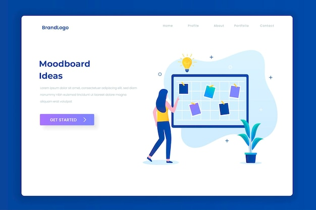 Moodboard ideeën illustratie bestemmingspagina concept