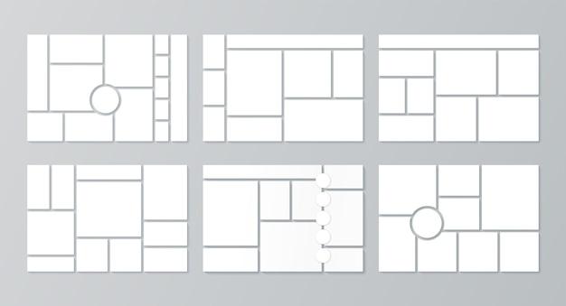 Moodboard-sjabloon. fotocollage lay-out. vector illustratie. stel moodboards in.
