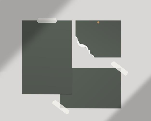 Moodboard sjabloon. lege vellen wit papier op de muur. sjabloonontwerp. realistische afbeelding.