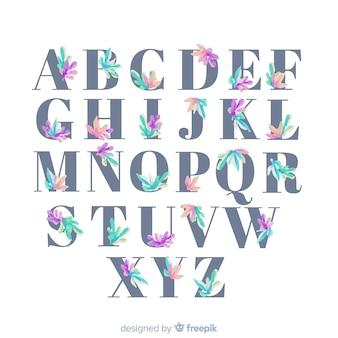 Mooi alfabet met bloemen