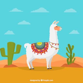 Mooi alpacakarakter met plat ontwerp