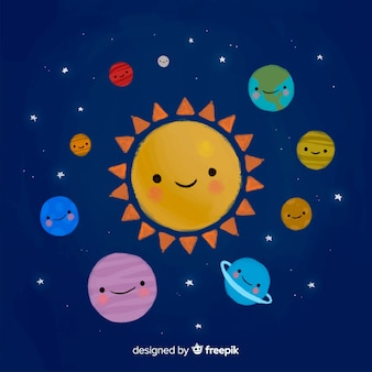 Mooi aquarel zonnestelsel schema
