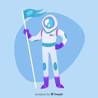 Mooi astronautenkarakter met vlak ontwerp