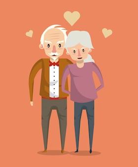 Mooi bejaarde echtpaar lachende cartoon