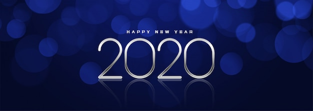 Mooi blauw bokeh nieuw jaar 2020 bannerontwerp