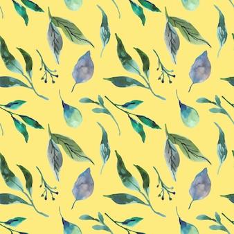 Mooi blauw groen blad aquarel naadloos patroon