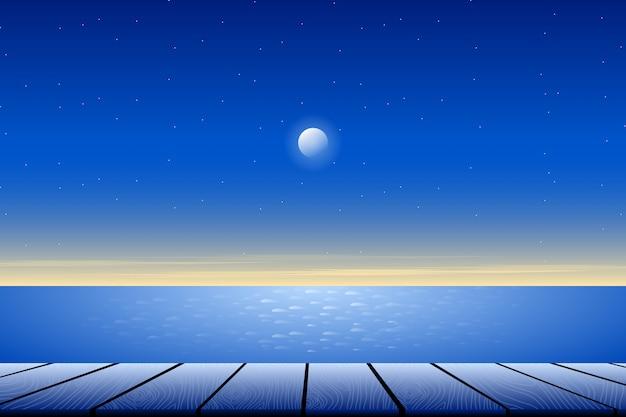 Mooi blauw hemellandschap met uitzicht op zee en houten vloer