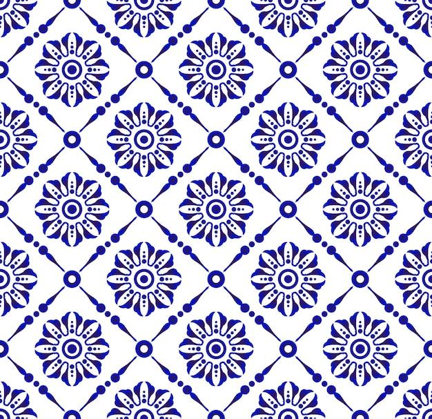 Mooi bloem blauw en wit patroon