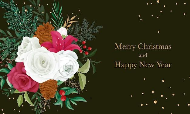 Mooi bloem en bladgoud kerstkaartontwerp