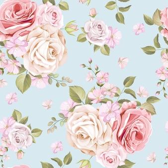 Mooi bloemen en bladeren naadloos patroon