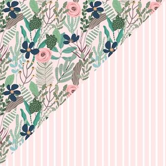 Mooi bloemen en streep naadloos patroon
