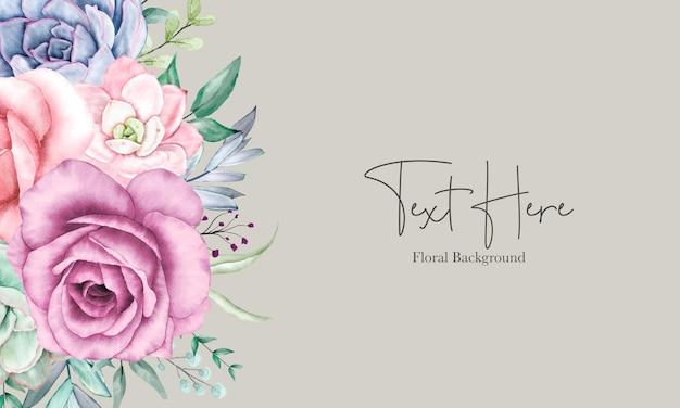 Mooi bloemenachtergrondontwerp met waterverf bloemenornament