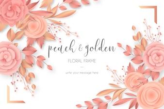 Mooi bloemenframe in perzik & gouden kleuren