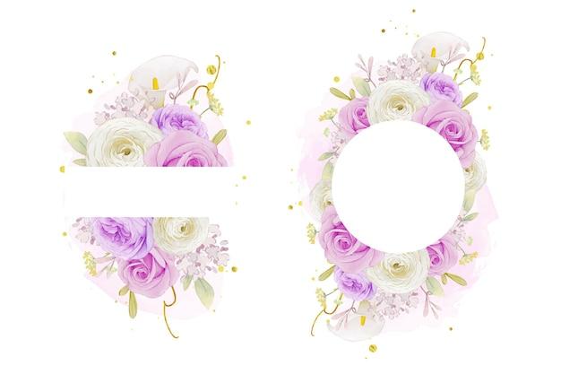Mooi bloemenframe met aquarel paarse rozenlelie en ranonkelbloem